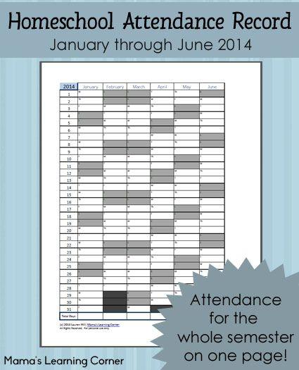 Homeschool attendance record 2014 free printable