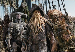 After davy jones and his crew come to life on screen