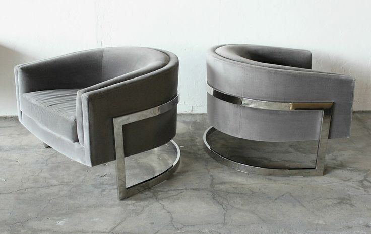Stunning pair of mid century milo baughman chrome barrel club chairs