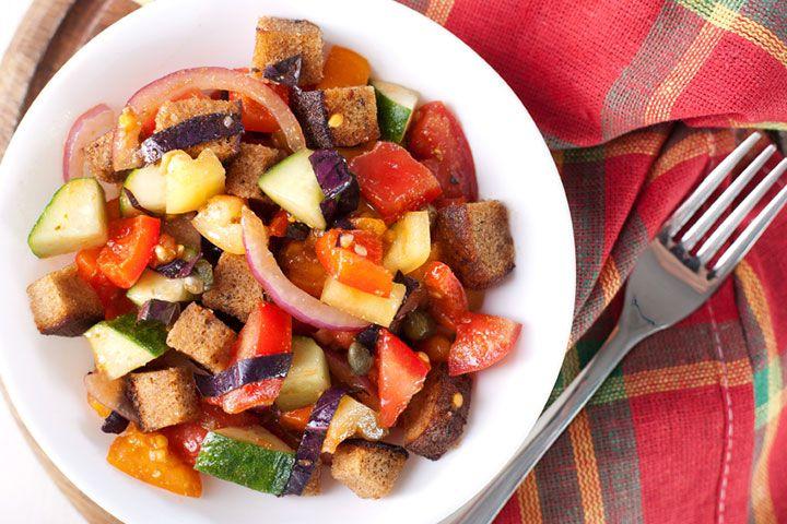Grilled Vegetable Panzanella Salad (Italian Bread Salad) uses eggplant ...
