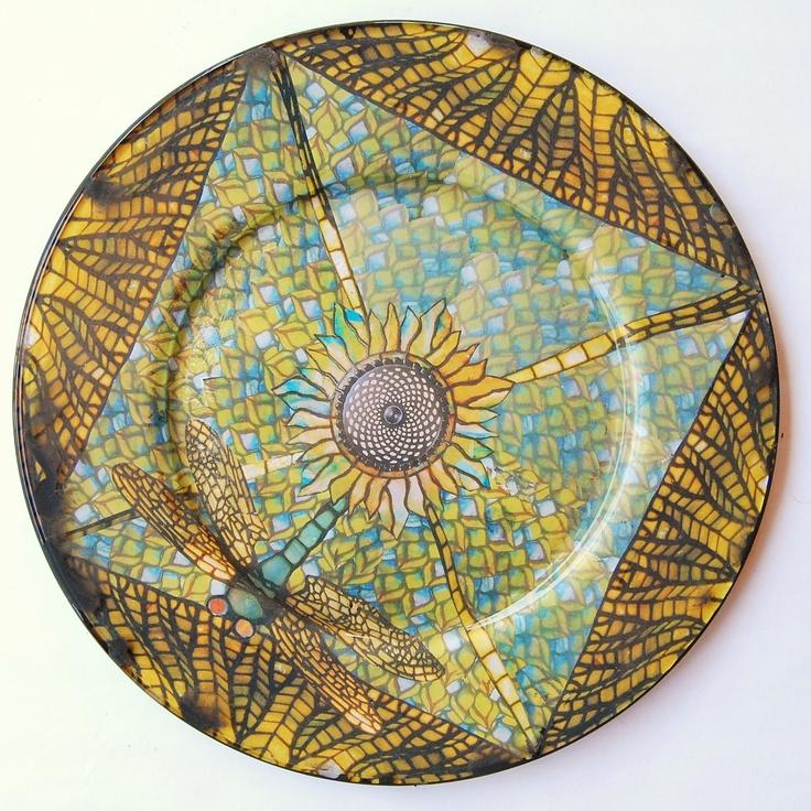diametro, piatto in vetro con disegno ispirato dalle lampade in vetro ...