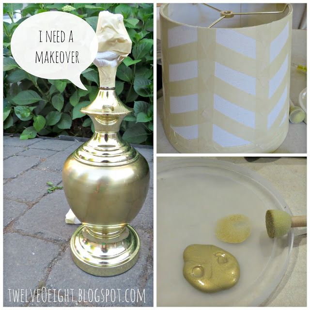 Gold Herringbone To The Rescue: A Thrift Store Lamp Rescue #lamp #upcycle #paintedlamp #diy #homedecor #decorate #herringbone #repurpose