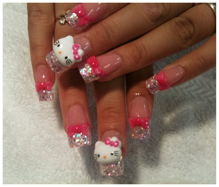 3D hello kitty nail art | Hello Kitty | Pinterest