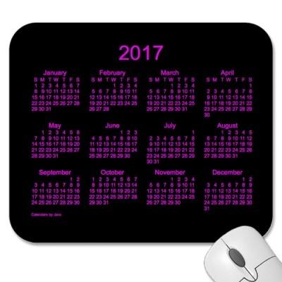 Neon Pink 2017 Calendar Mouse Pad