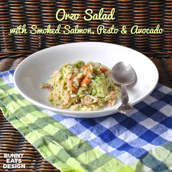 Orzo salad with smoked salmon, pesto and avocado. Super foods for ...