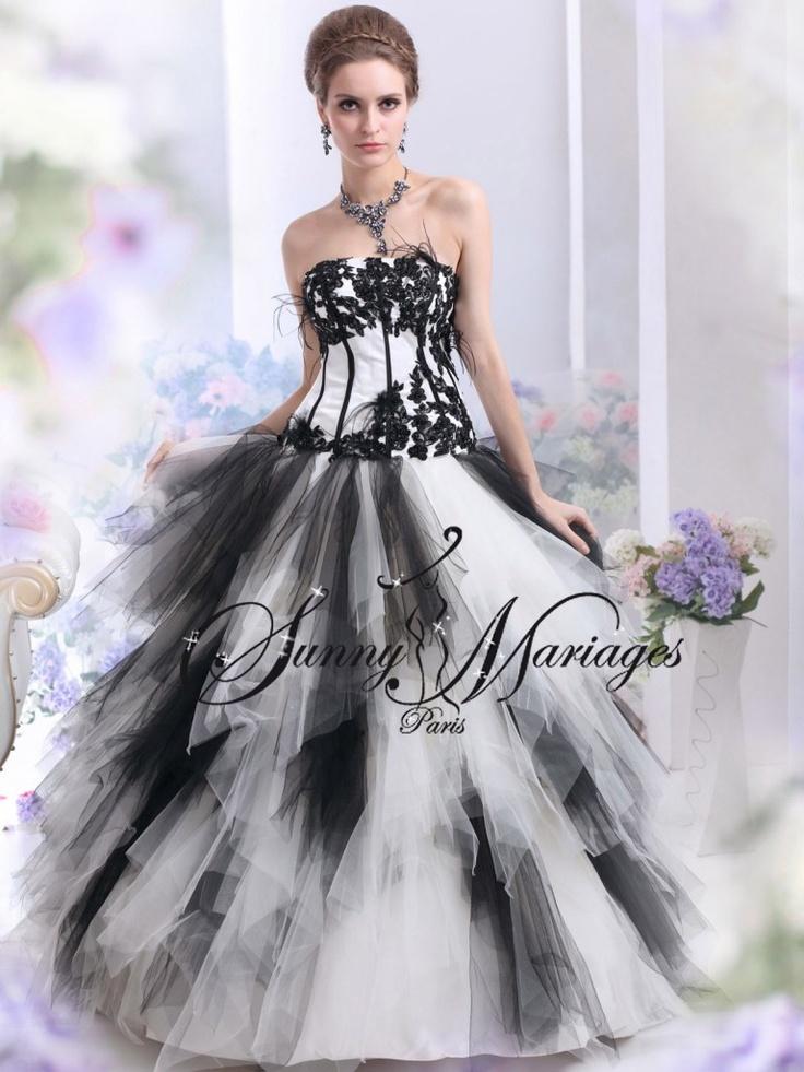 robe de mariee noir et blanc  mariage robe  Pinterest