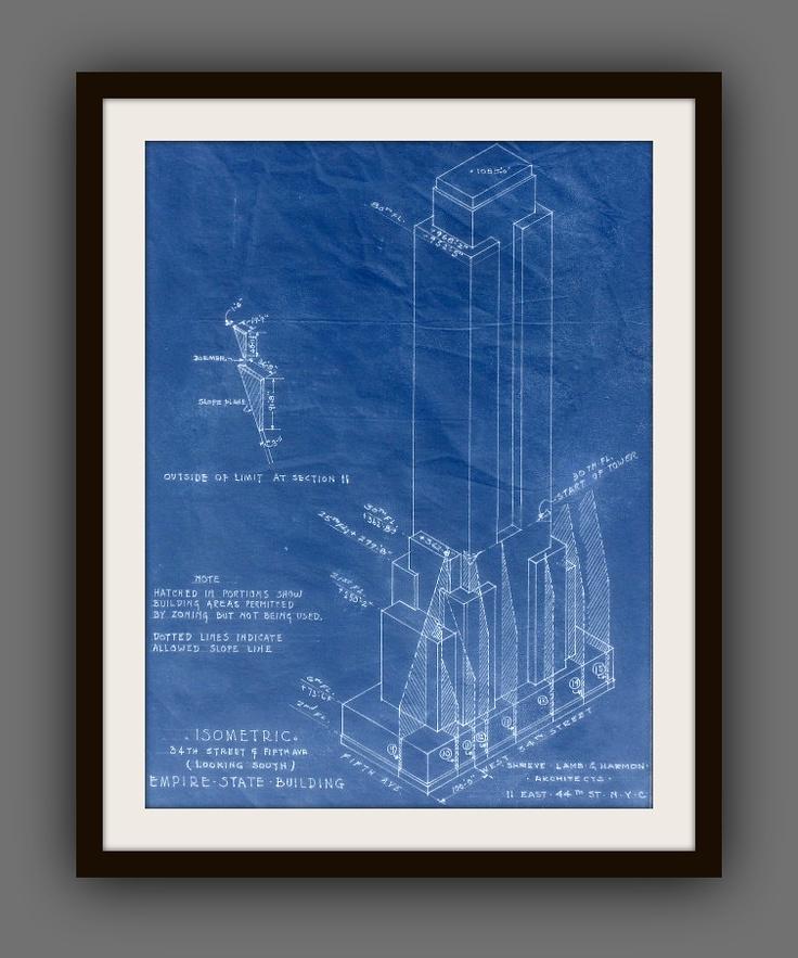 Vintage Empire State Building Blueprint I Love Blue Prints Pinterest