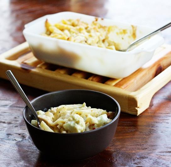 roasted cauliflower and chicken mac & cheese | Sweet Anna's