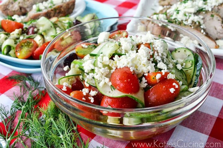 Greek-Style Cucumber, Tomato, and Feta Salad - Katie's Cucina