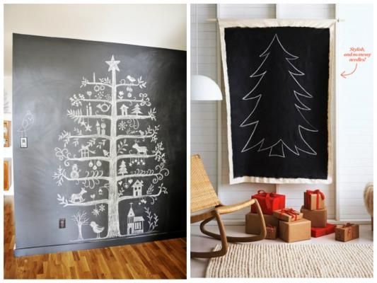 Creative Non-Tree Christmas Tree Displays - Chalkboard Christmas Trees