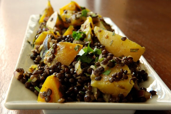 Roasted Golden Beet and Lentil Salad with Mint and Cilantro