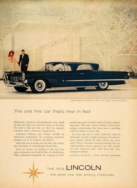 1958 lincoln ad car stuff pinterest. Black Bedroom Furniture Sets. Home Design Ideas