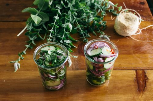 Spicy-Sweet Quick Pickled Cucumbers. It's not too spicy, but has a ...