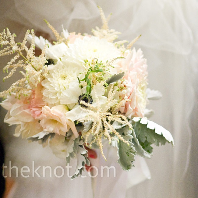 White Wedding Flowers July : White and pink bouquet july wedding