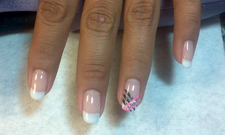 Shellac french with painted design | Nail Art | Pinterest