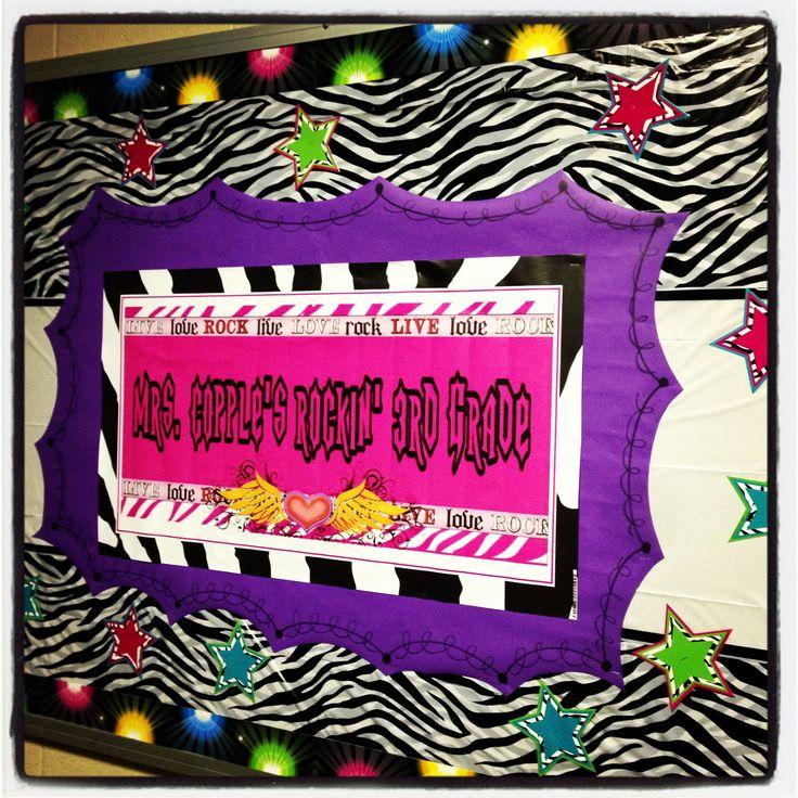 Zebra Classroom Ideas ~ Zebra rockstar classroom theme welcome back board