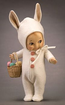 Kewpie Bunny. when i was lilttle i had a stuffed bunny with a babydoll face and i miss it greatly! wonder if anyone could make me a bunny with any kind of babydoll face? works like a hood can be glued. if you know me you know i looovvvee dolls lol