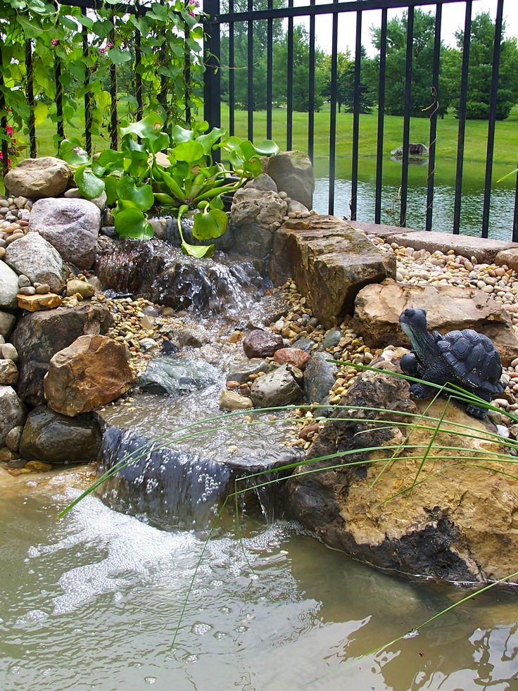 Small backyard waterfall and pond landscaping outdoor for Yard ponds and waterfalls