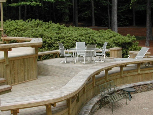 rounded cantilever bench seating | Deck Design | Pinterest