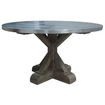 Berlin Industrial Round Dining Table With Zinc Top
