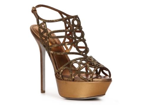 Sergio Rossi Metallic Leather Cutout Sandal #DSW #Luxe810