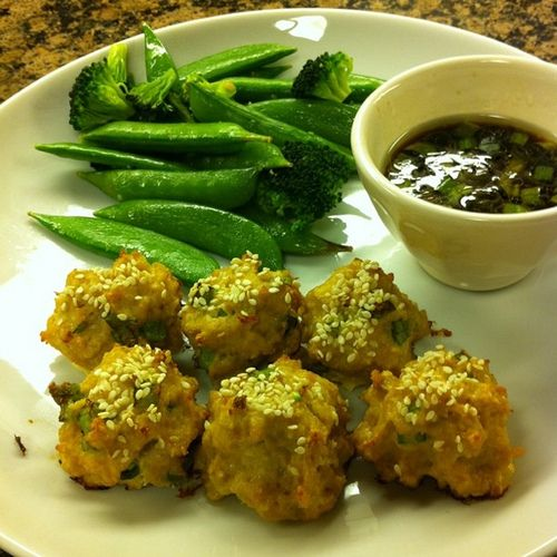 Asian Turkey Meatballs w Lime Sesame Dipping Sauce