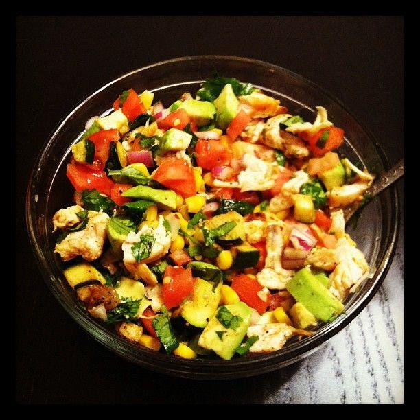 mexican chicken salad: chicken, avocado, corn, zucchini, red onion ...