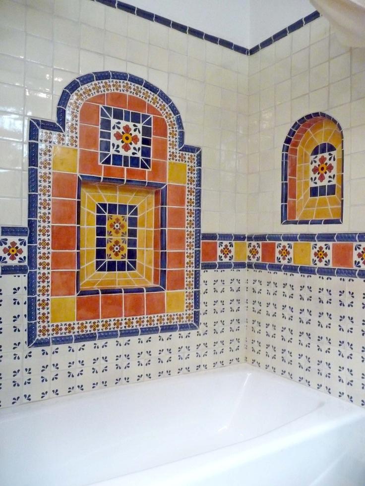 Bathroom using Mexican tiles. | Kristi Black Designs | Pinterest