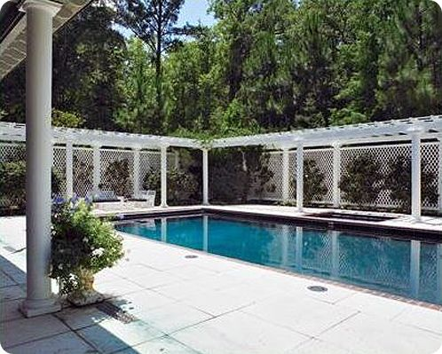 Pergola and lattice pool fence design pool fencing ideas for Pool fence designs