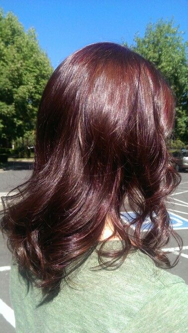 red angled bob with hint of purple lowlights