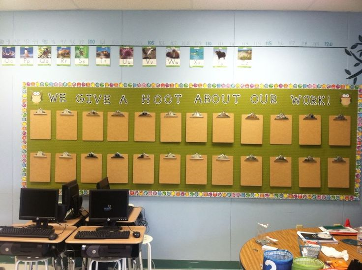 Classroom Grant Ideas ~ Owl bulletin board with clipboards for easy display of