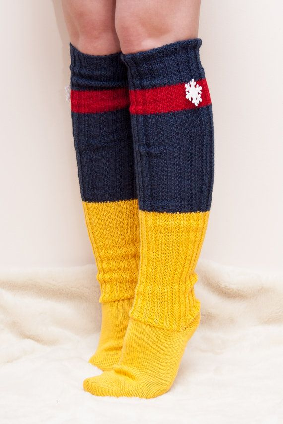 s knee high boot socks wool knitted blue yellow