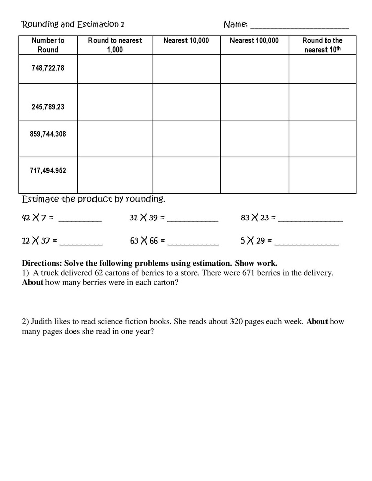 Estimating Multiplication Worksheet common worksheets place – Rounding Multiplication Worksheets