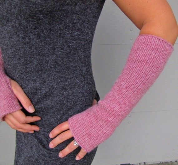 Pattern for the long delicate knit fingerless glove sleeves