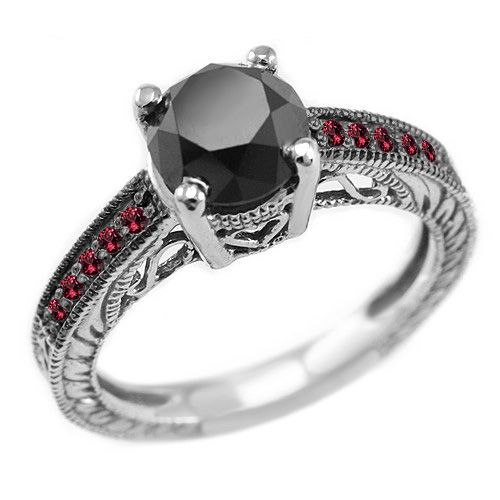 2.45ct Black Diamond Red Ruby Engagement Ring Antique Style