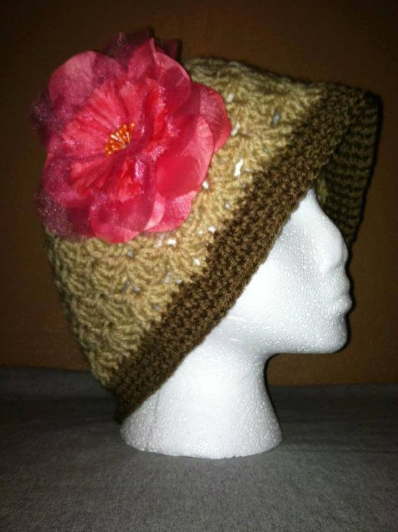 Crochet Stitches Loose : Handmade crochet shell stitch design loose fitting beanie/cloche hat ...
