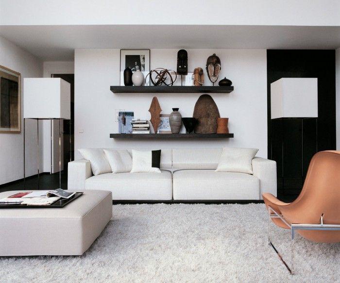 shelves behind couch decor pinterest. Black Bedroom Furniture Sets. Home Design Ideas