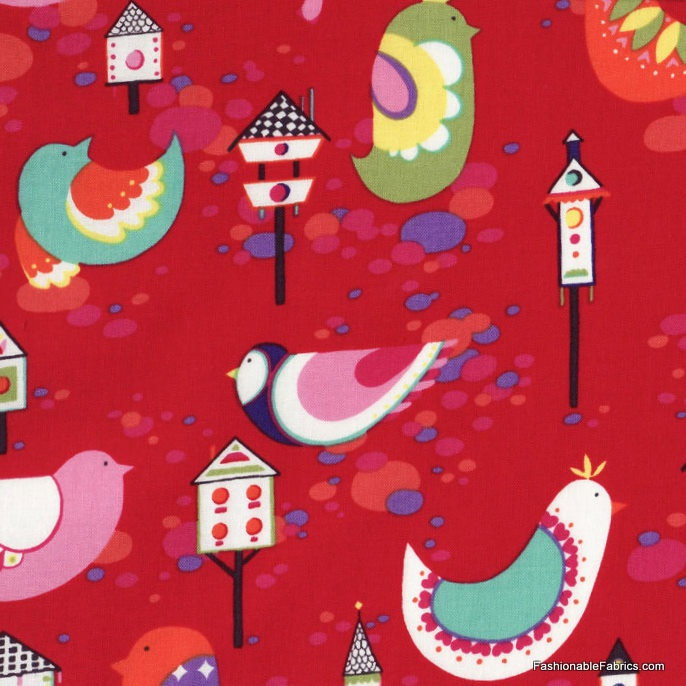 Willow Wren on Red by Alexander Henry Fabrics