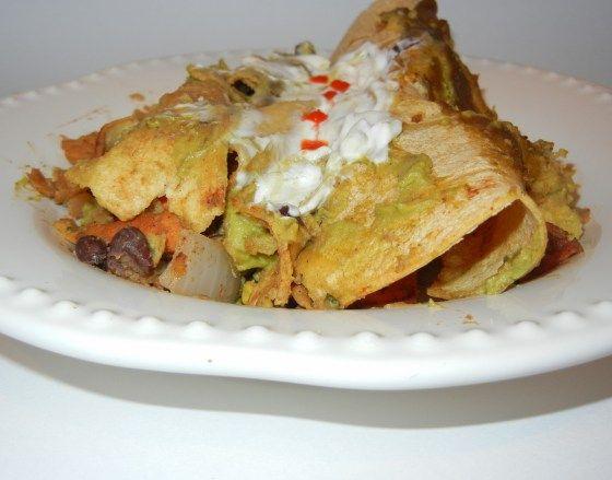 Creamy Black Bean & Sweet Potato Enchiladas with Avocado & Salsa Sauc...