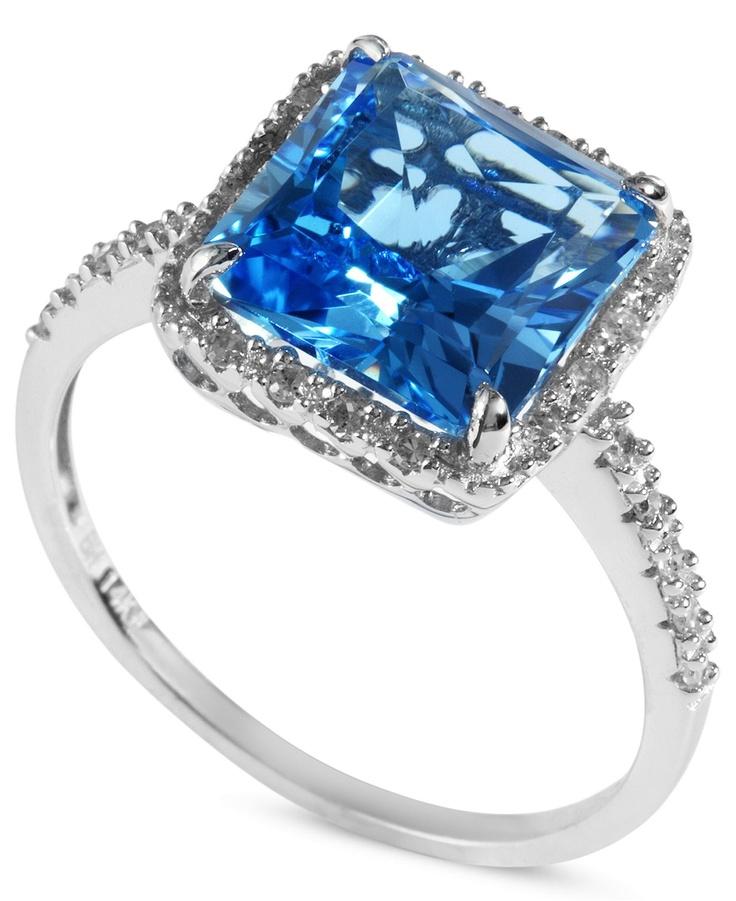 Effy blue topaz 4 1 3 ct t w and diamond 1 8 ct t w for Macy s jewelry clearance