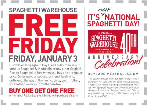 Spaghetti warehouse coupons 2018