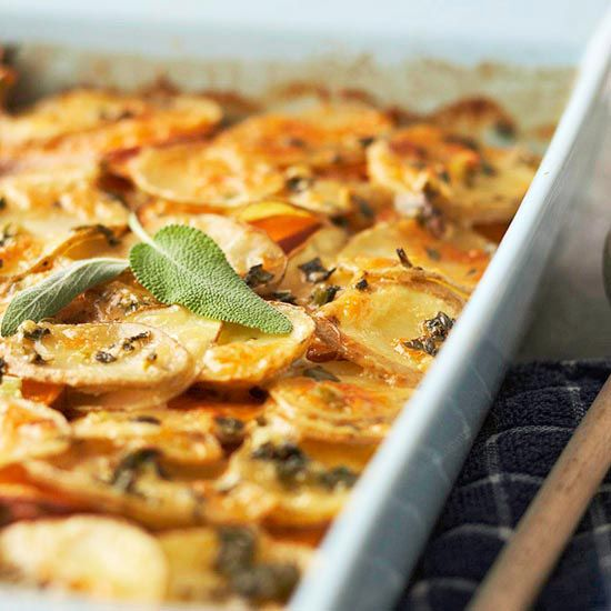 Herbed Yukon Gold & Sweet Potato Gratin is a great side dish for your ...