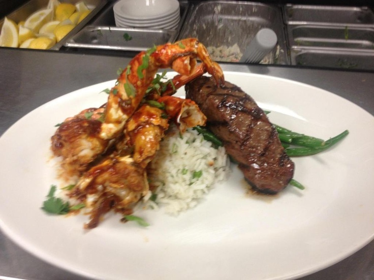 style hot chili Dungeness crab, soy butter basted top sirloin steak ...