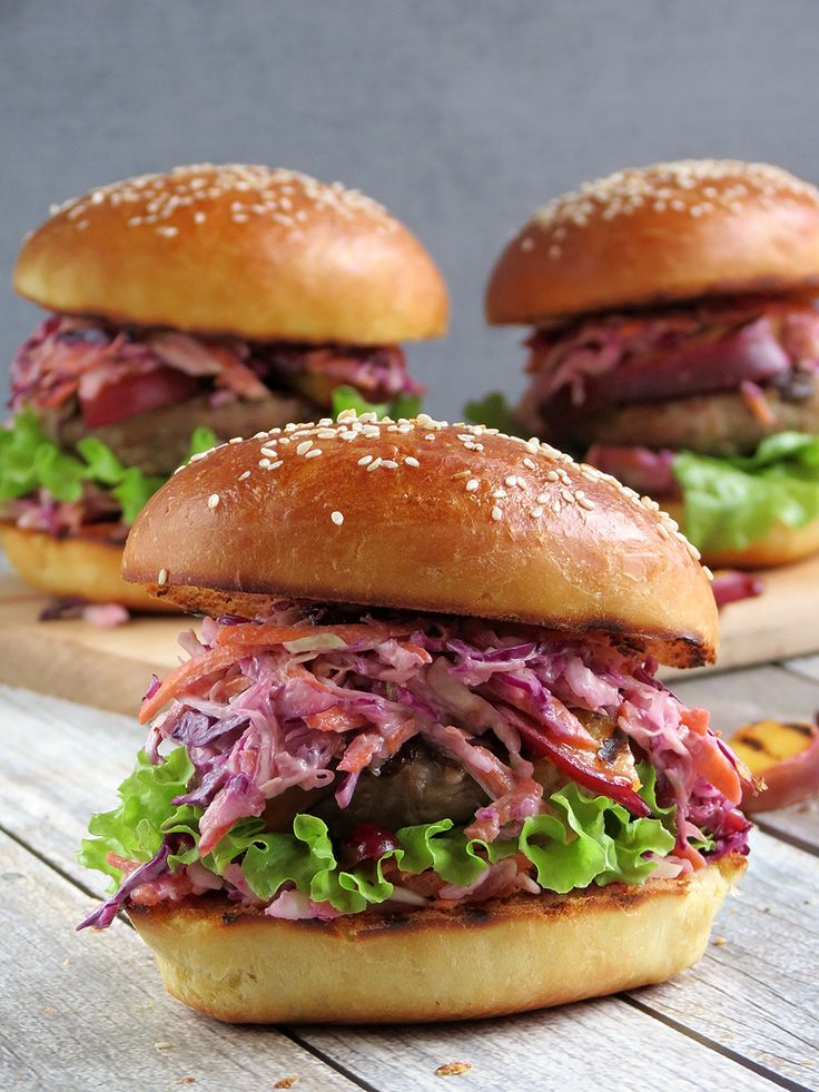 Grilled Turkey Burgers With Coleslaw And Nectarines | YummyAddiction ...