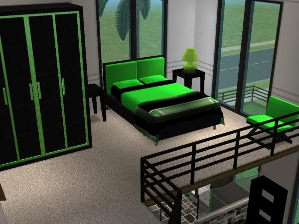 Lime green and black bedrooms for Black and lime green bedroom ideas