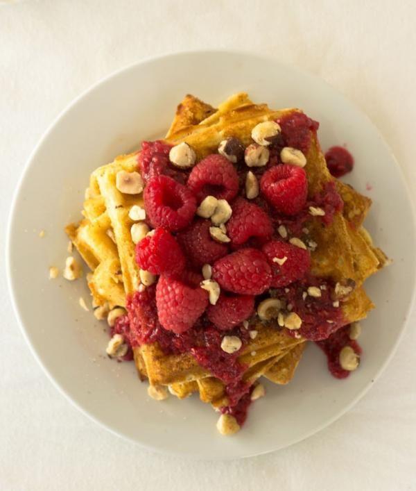 Hazelnut Waffles with Raspberry Syrup | KitchenDaily.com