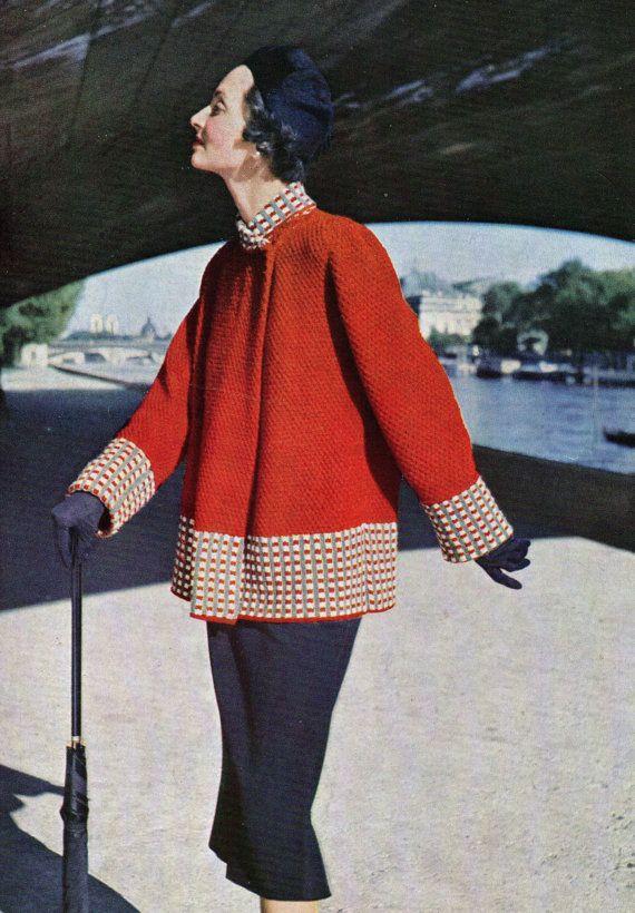 Elegant Swing Coat 1950 pdf Vintage Knitting Pattern Instant Download Paris Styled Jacket