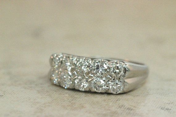 Vintage Diamond Ring 14k White Gold Ring 1960s Wedding Band Engagemen…