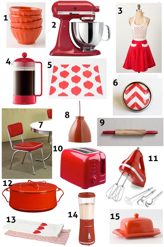 Kitchen accents and accessories red kitchen decor ideas for Red kitchen decor