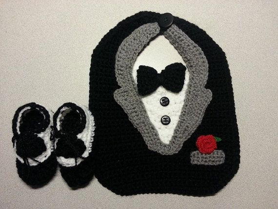 Tuxedo Bib with Dress Shoe Booties by JensNeedleKnows on Etsy, $20.00
